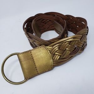 Coldwater Creek Gold braided belt size M leather